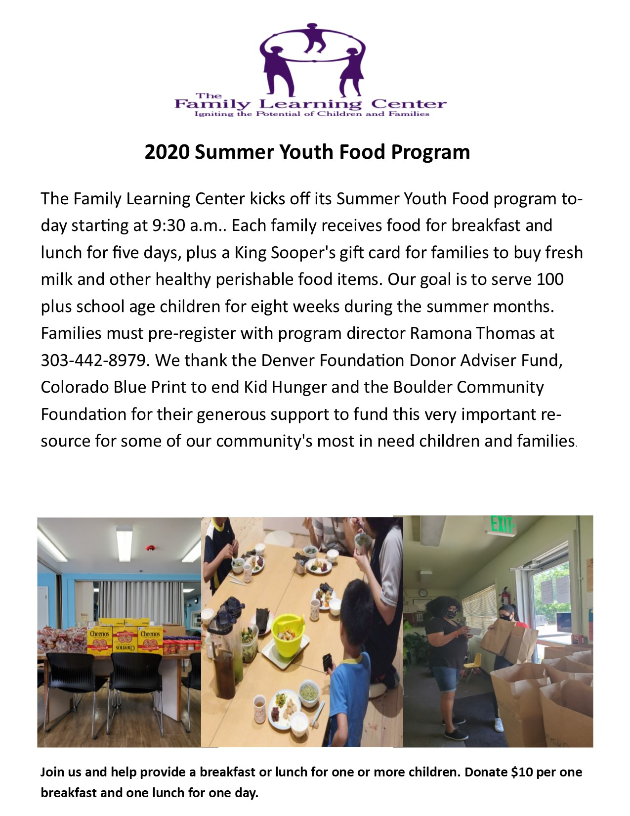 2020 Summer Youth Food Program